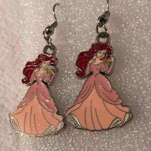 Little Mermaid Pink Dress Dangle Earrings